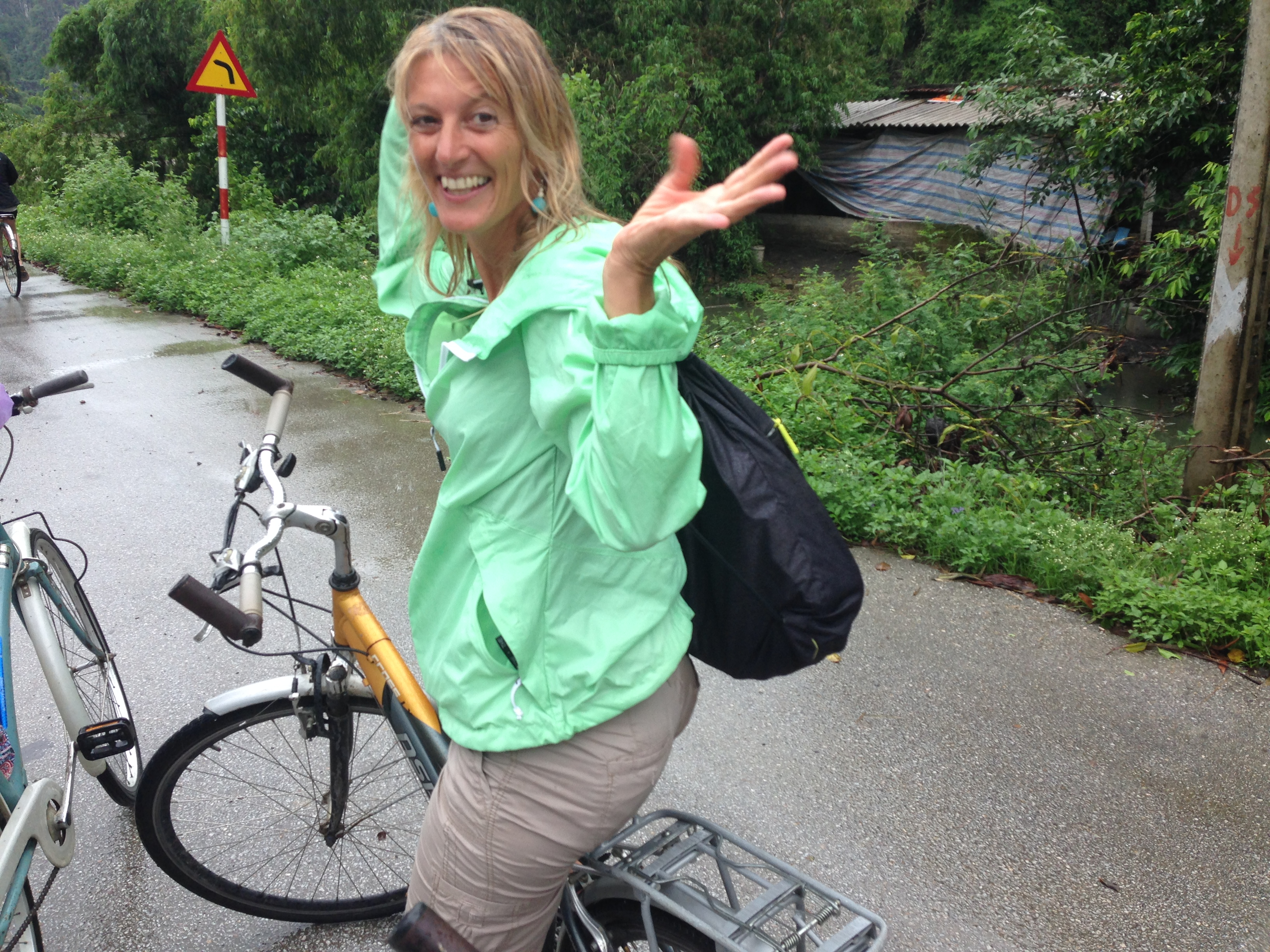 rainy bicycle tour